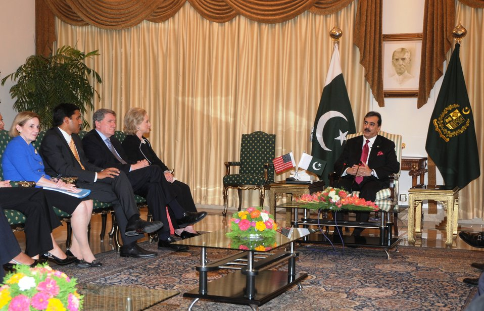Secretary Clinton, Ambassador Patterson, USAID Administrator Shah, and Special Representative Holbrooke Meet With Pakistani Prime Minister Yousaf Raza Gilani