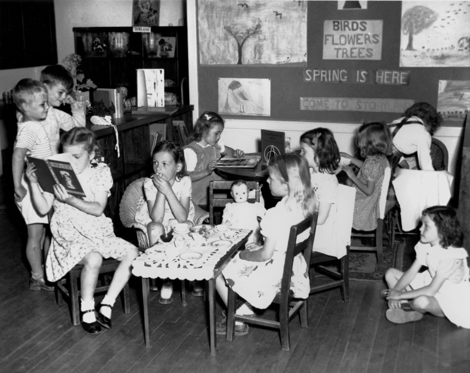 Pine Valley School Open House Childern Reading and Tea Party Oak Ridge 1945