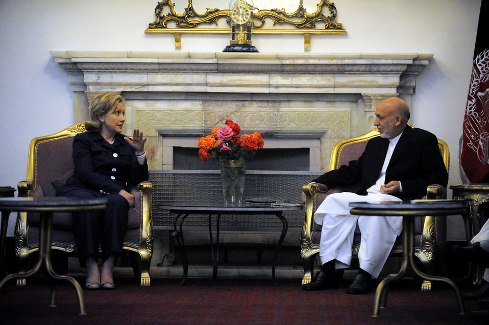 Secretary Clinton and President Karzai Discuss U.S.-Afghanistan Relations
