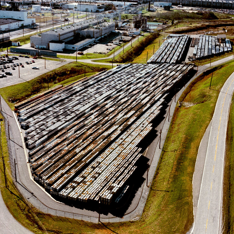 Aerial of storage pad with drums K-25 Oak Ridge