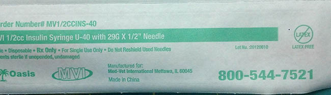 RECALLED – Insulin syringes