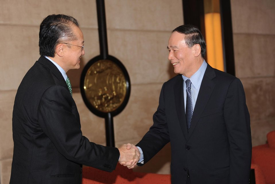 Dr. Jim Yong Kim meeting with Chinese Vice Premier Wang Qishan