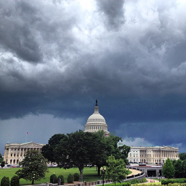 Afternoon thunderstorm over the Capitol.