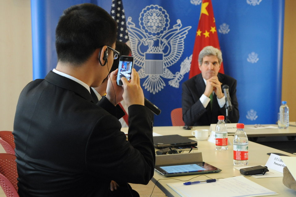 Chinese Reporter Takes Photo of Secretary Kerry