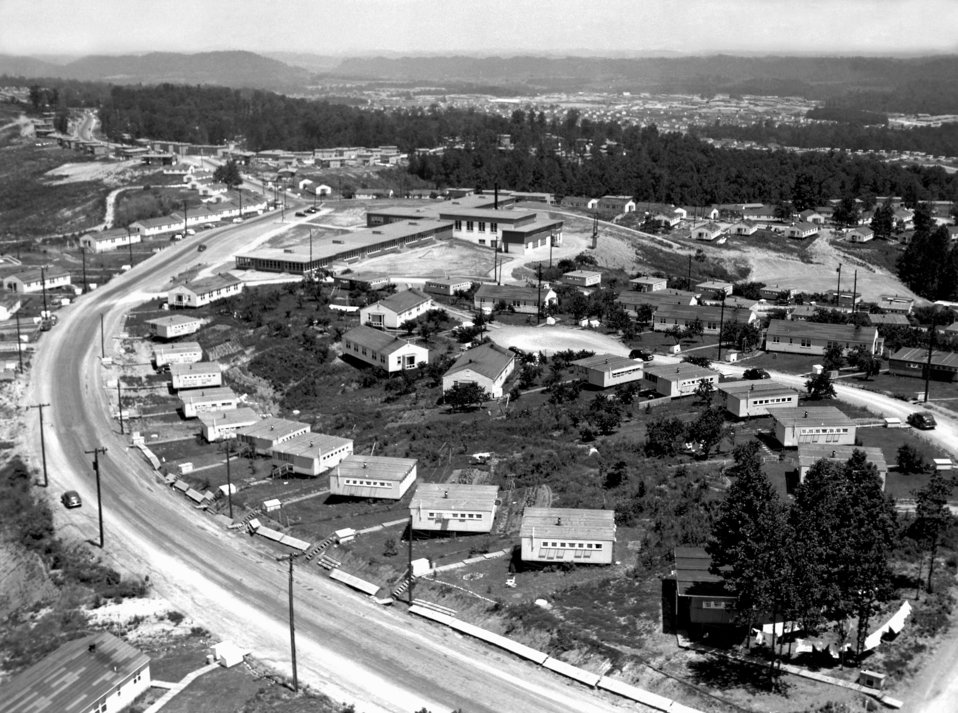 Aerial of Highland View School and Homes Oak Ridge 1945
