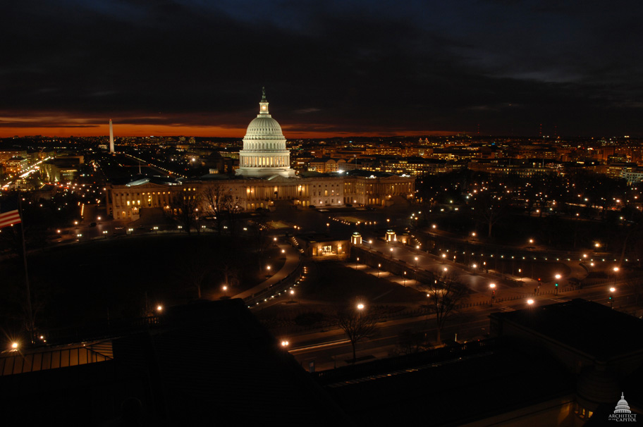 East Front of the U.S. Capitol at Night