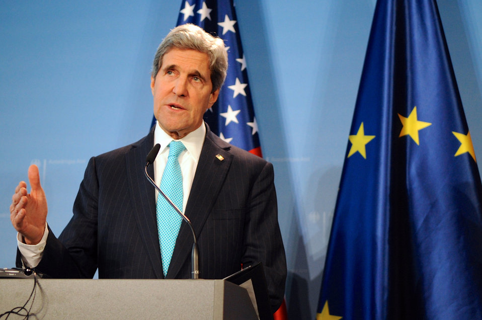 Secretary Kerry Addresses Reporters During News Conference in Berlin