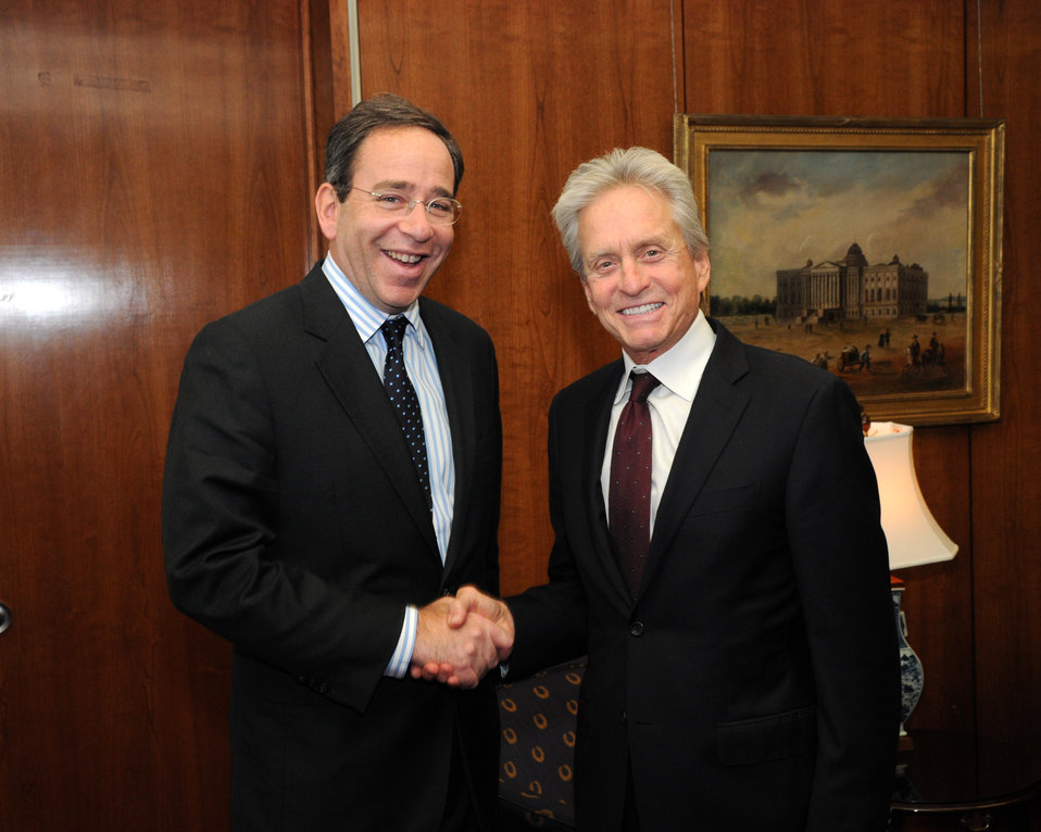 Actor Michael Douglas Shakes Hands With Deputy Secretary Nides