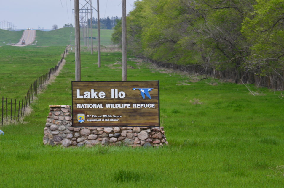 Close-up of Lake Ilo NWR sign