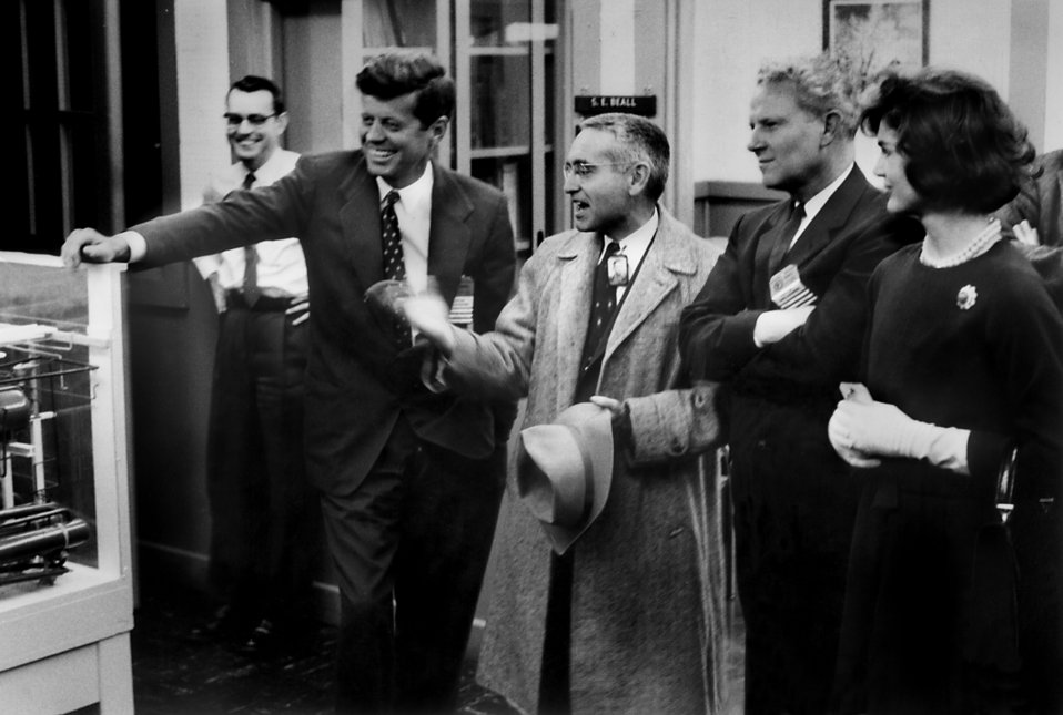 Sen. John F. Kennedy , Dr. Alvin Weinburg, Al Gore Sr. and Jackie Kennedy at the Graphite Reactor Oak Ridge National Lab.
