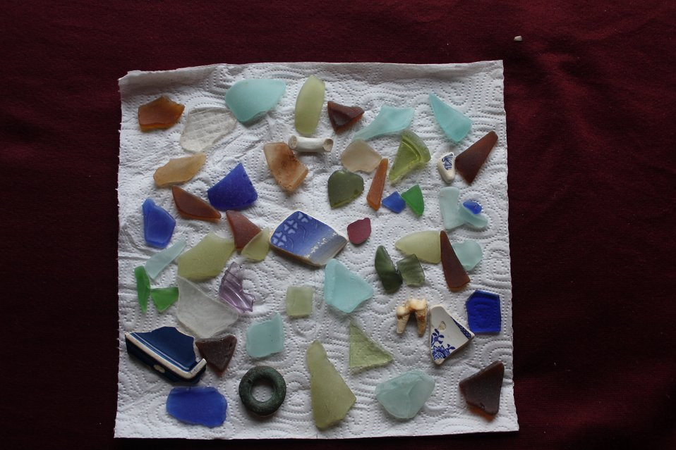 The story of St. Michael told in glass remnants.  Russian, American, and Chinese  glass and porcelain fragments.