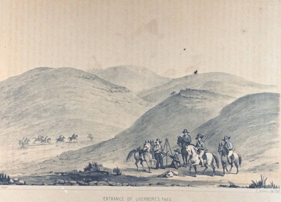 'Entrance of Livermore's Pass', Plate II. In: Reports of Explorations and Surveys .... Vol. 5, p. 12.  Commonly known as Pacific Railroad Surveys.  Call Number F593 .U58.