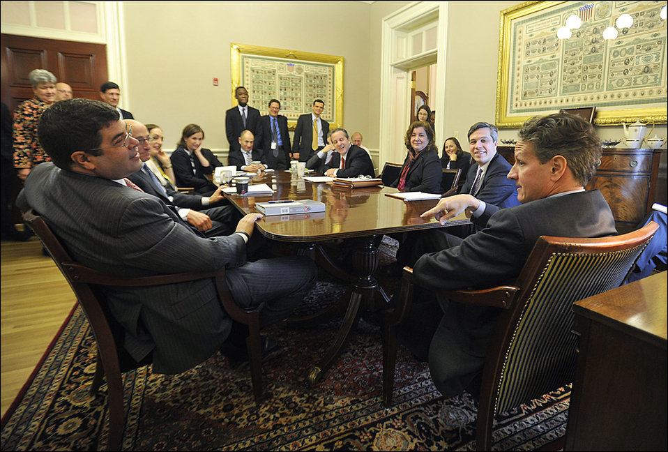 Secretary Geithner presides over his final senior staff meeting as Treasury Secretary