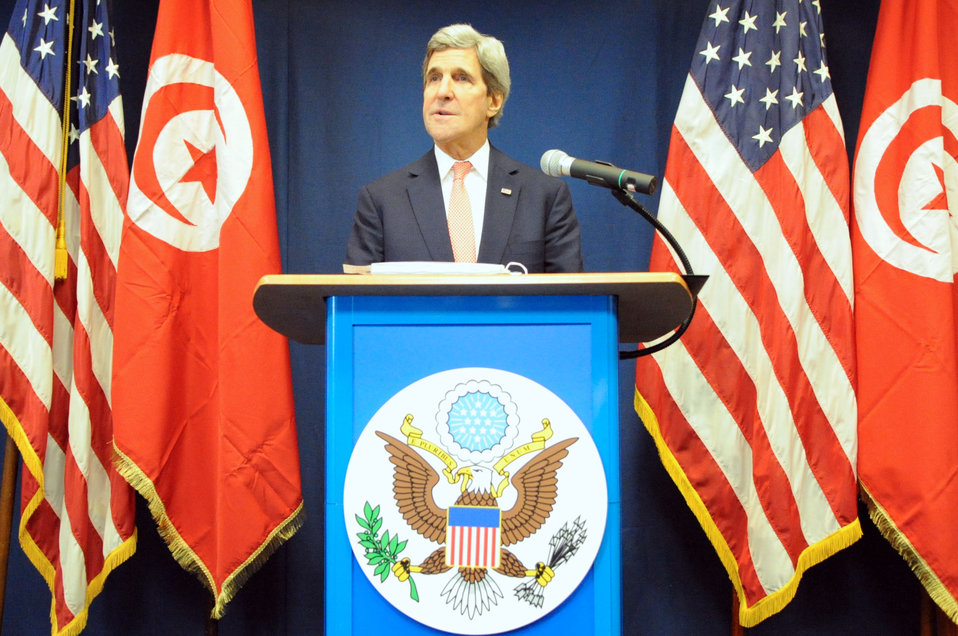 Secretary Kerry Conducts News Conference After Meetings in Tunisia