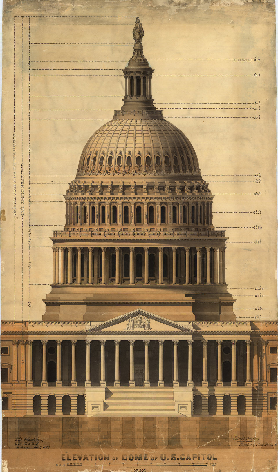 Elevation of the Dome of the U.S. Capitol