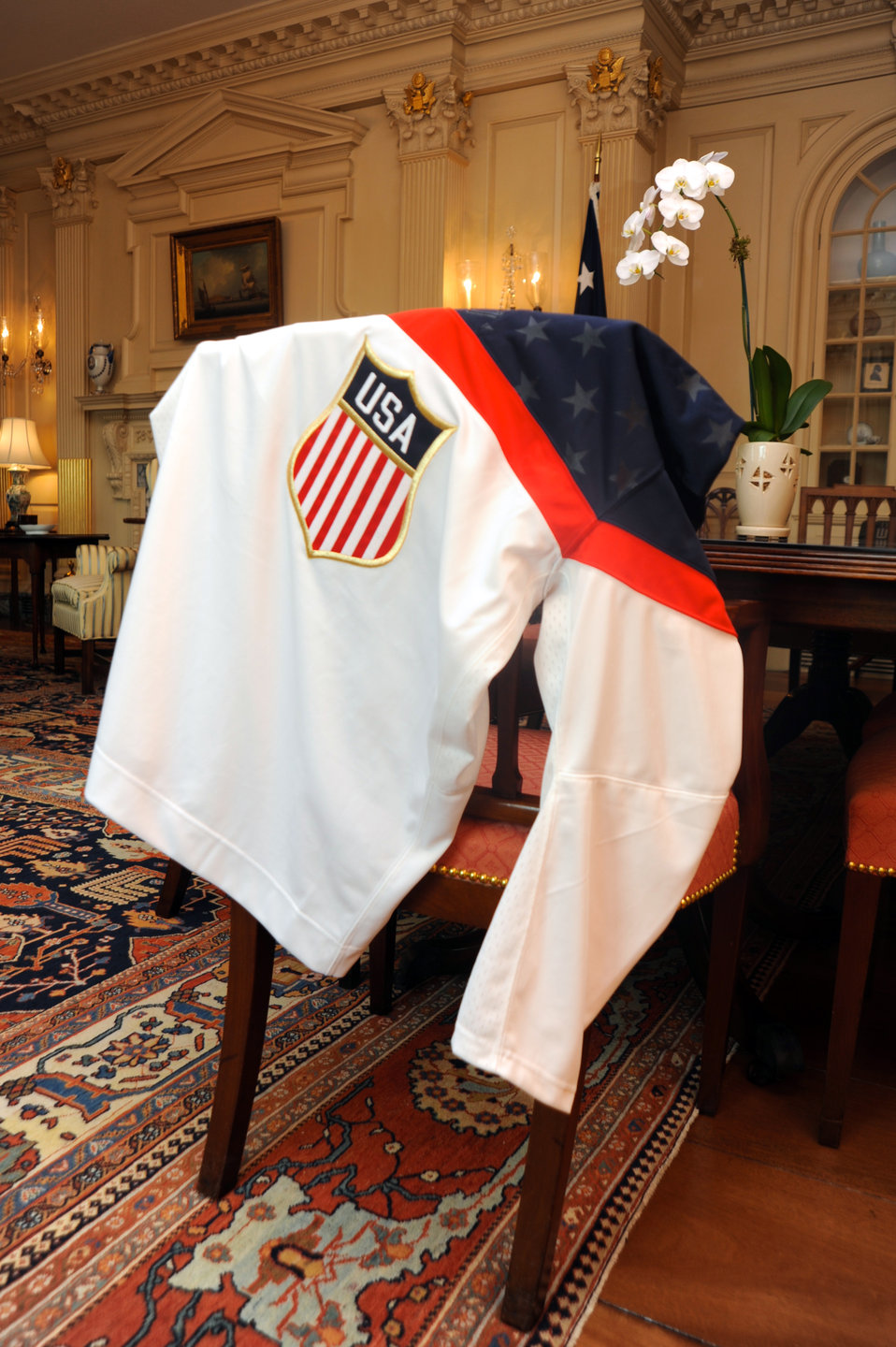 Secretary Kerry's Team USA Hockey Jersey on Proud Display