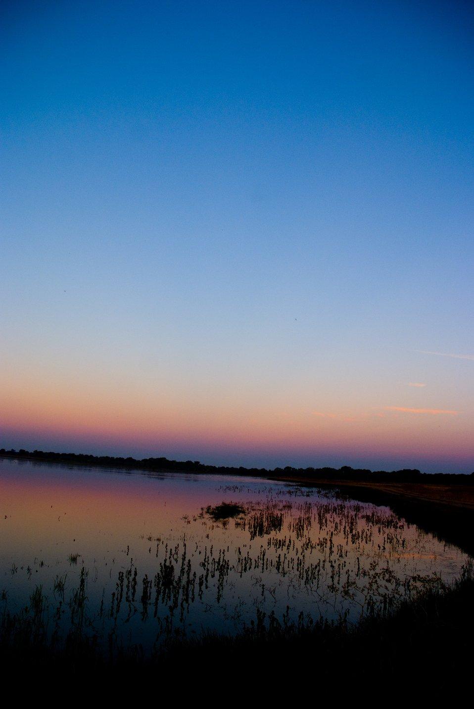 Stone Lakes National Wildlife Refuge at twilight