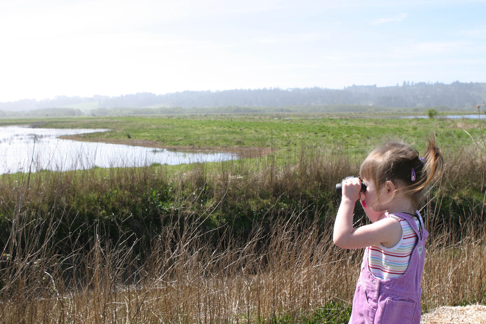 2 yr old birder at Humboldt Bay NWR