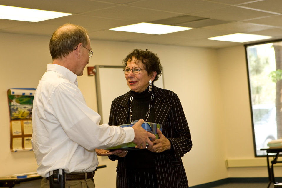 Assistant Director of Endangered Species Program, Gary Frazer, Presents Margot Zallen with an Award