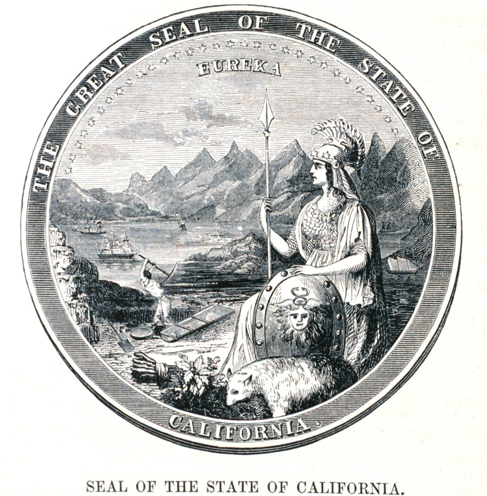 Seal of the State of California. In: 'The Annals of San Francisco'.  Frank Soule, John Gihon, and James Nesbit.  1855.  Page 805.  D. Appleton & Company, New York.  F869.S3.S7 1855.