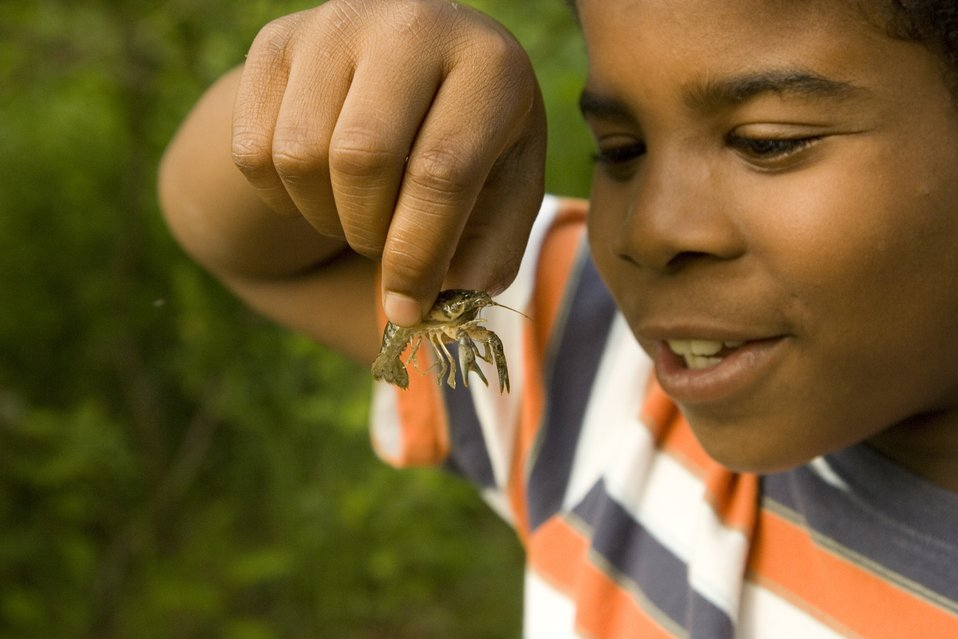 Child with crayfish