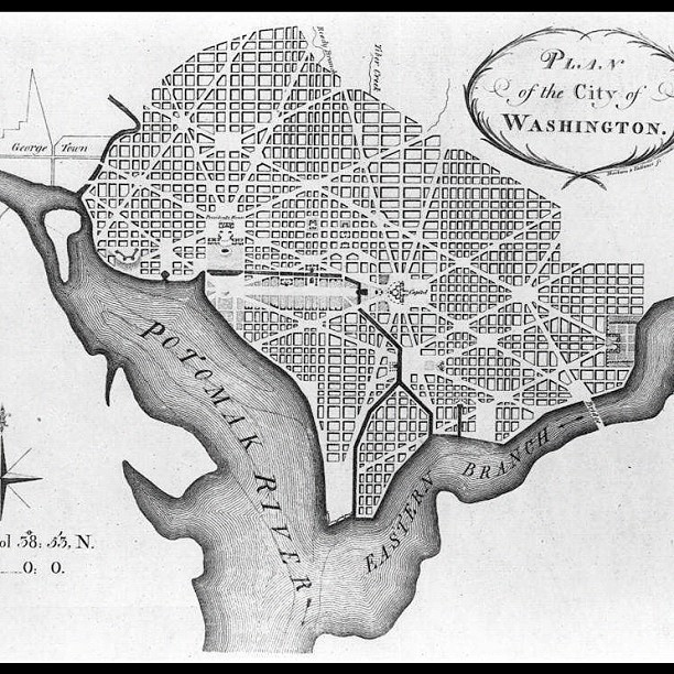 Pierre Charles L'Enfant 1792 plan for city of Washignton