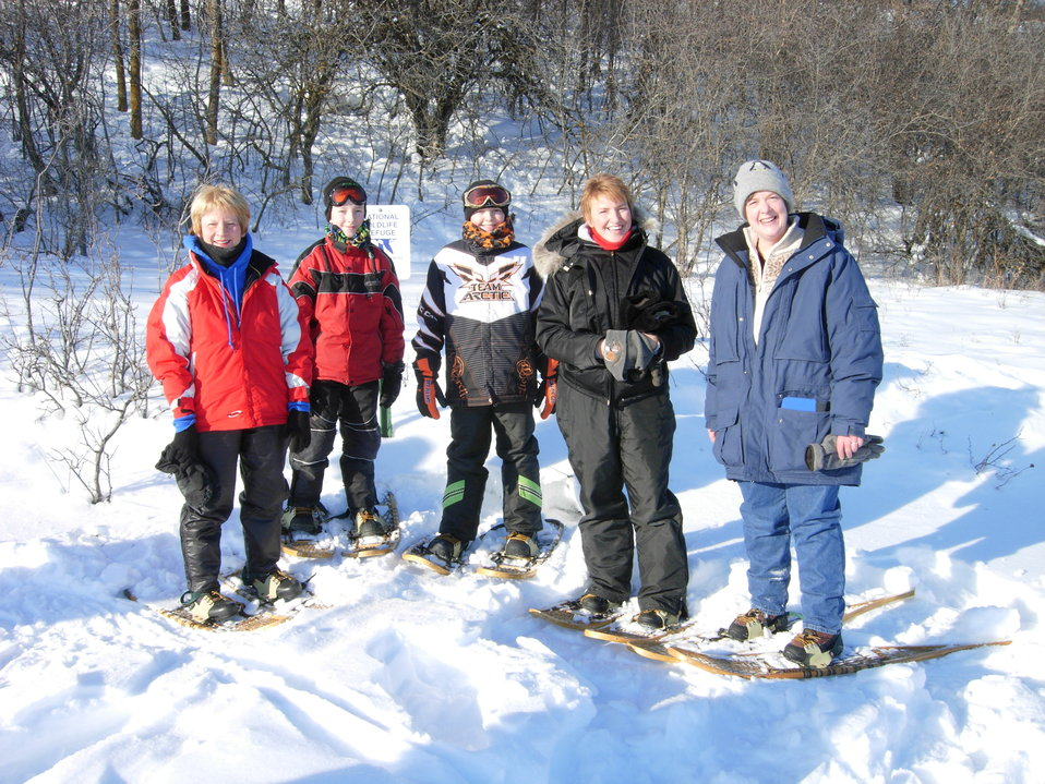 Group Happy to be Snowshoeing