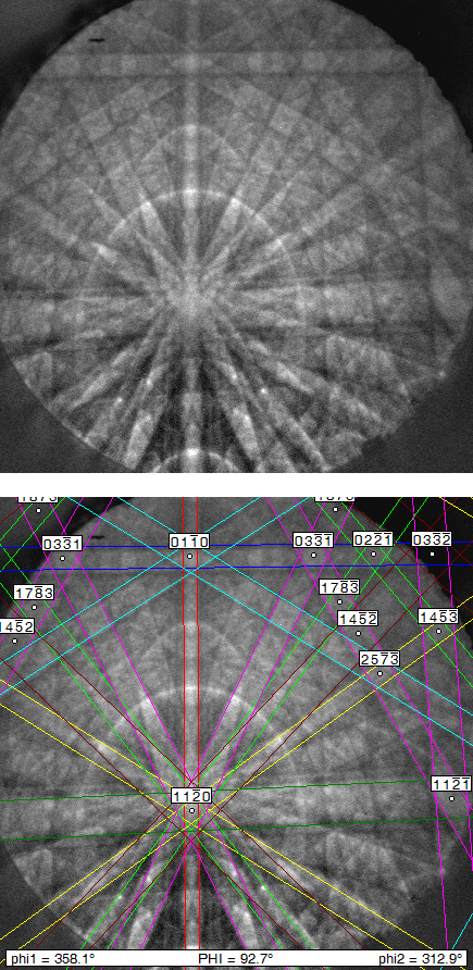 Transmission electron diffraction pattern
