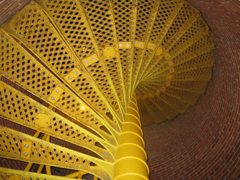 The spiral staircase going to the top of Barnegat Lighthouse.