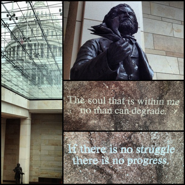 Frederick Douglass statue now on public view in Emancipation Hall at the Capitol.