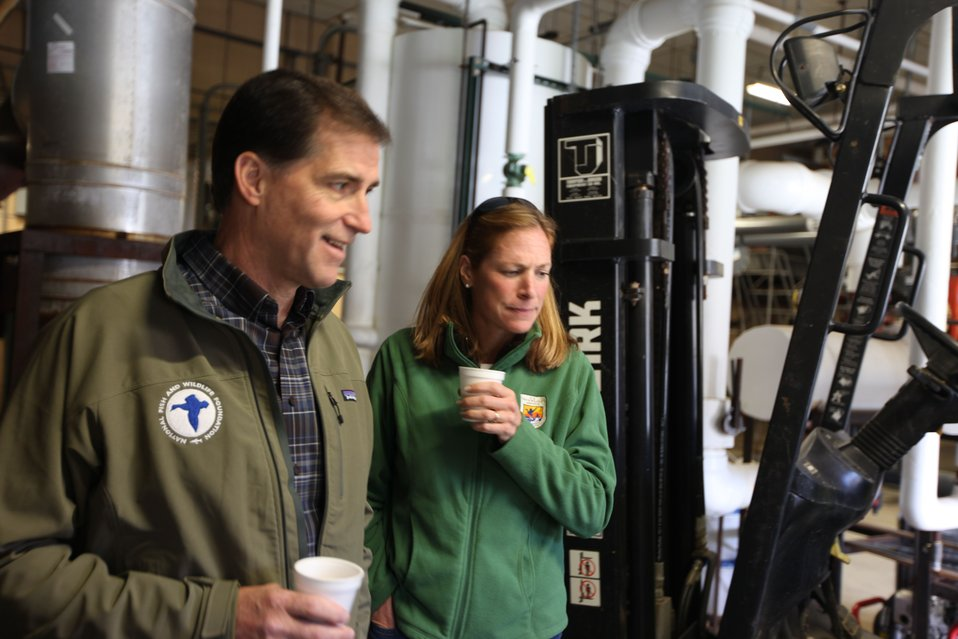 Dan Ashe and Wendi Weber on a tour of the hatchery