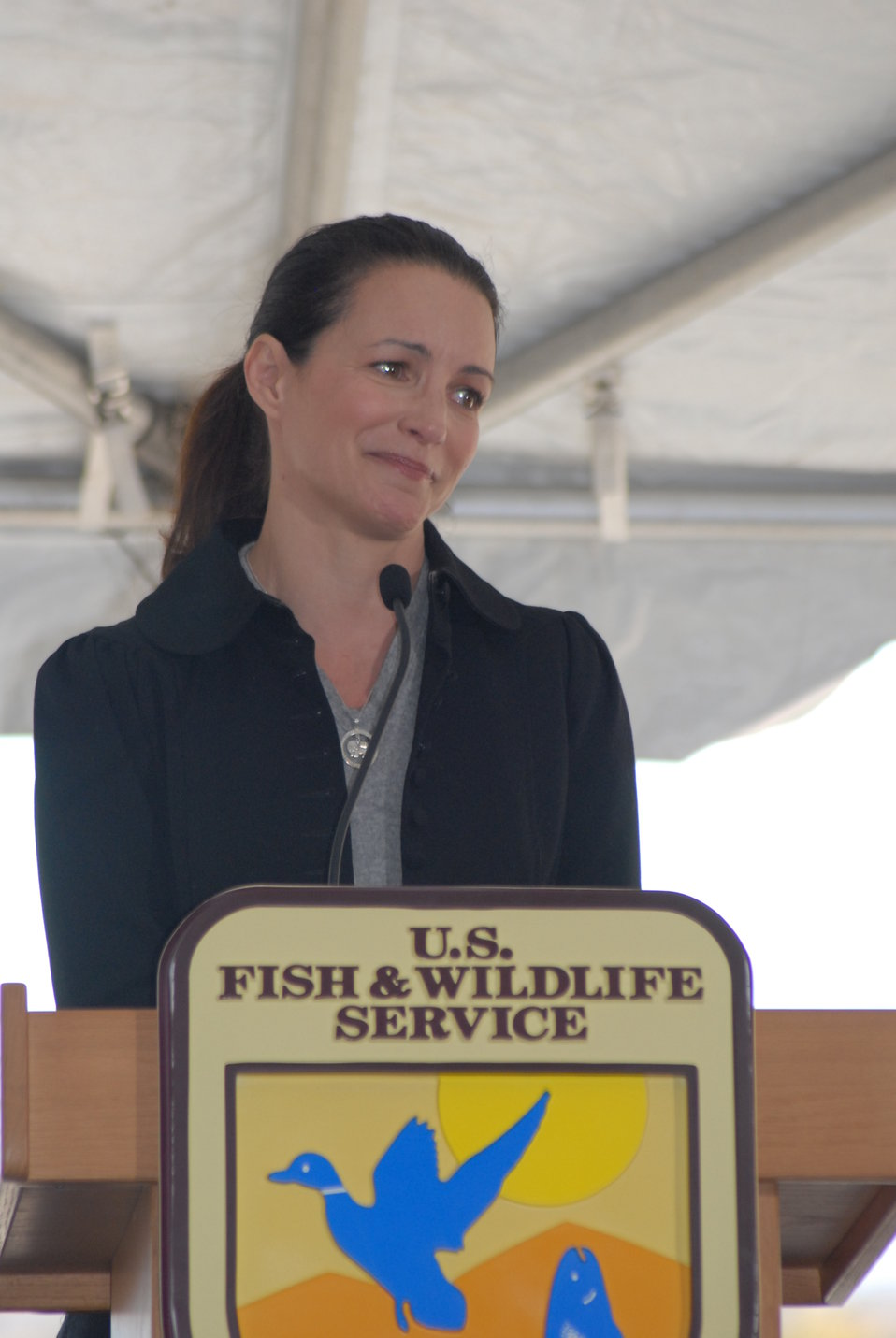 Kristin Davis, actress and Patron for The David Sheldrick Wildlife Trust, speaks at the U.S. Ivory Crush.