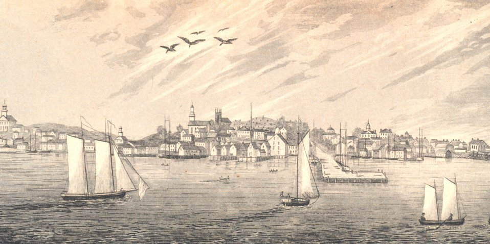 Eastern view of Plymouth from the harbor. In: Historical Collections ... of Every Town in Massachusetts.  1841.