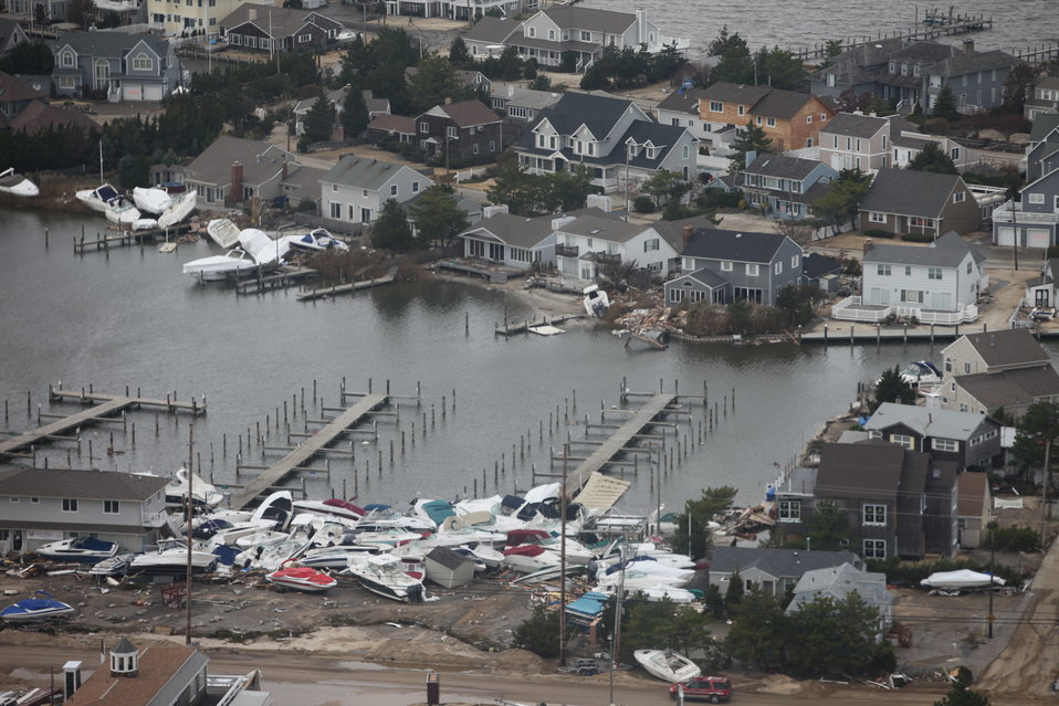Storm damage at New Jersey marina