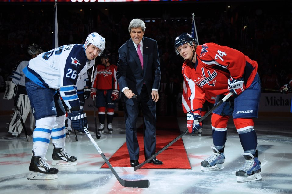 Secretary Kerry Prepares for Ceremonial Puck Drop With U.S. Olympians Wheeler, Carlson