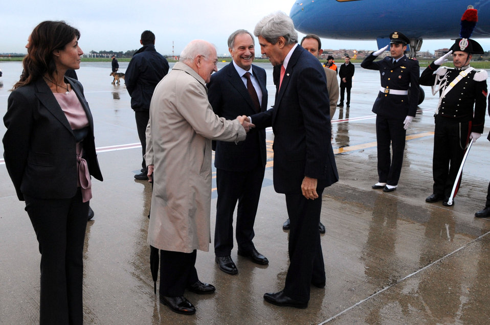 Secretary Kerry Shakes Hands With Vatican Ambassador Hackett Upon Arriving in Rome