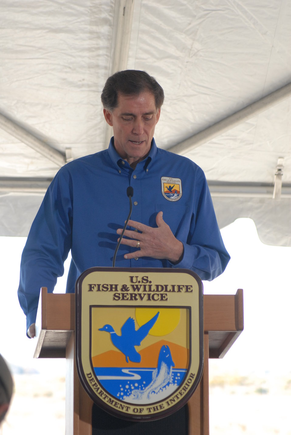 U.S. Fish and Wildlife Service Director Dan Ashe speaks at the U.S. Ivory Crush.