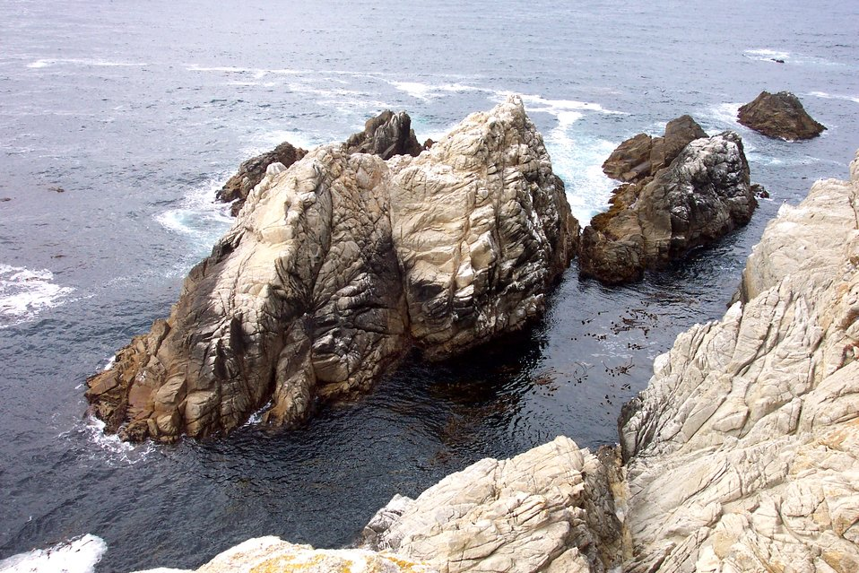An islet of Santa Lucia Granodiorite, an erosion-resistant rock that underlies most of the Point Lobos area.