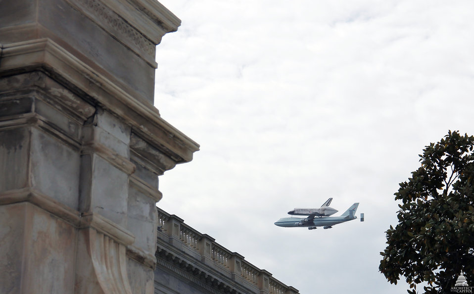 Shuttle Discovery Flying Over the U.S. Capitol