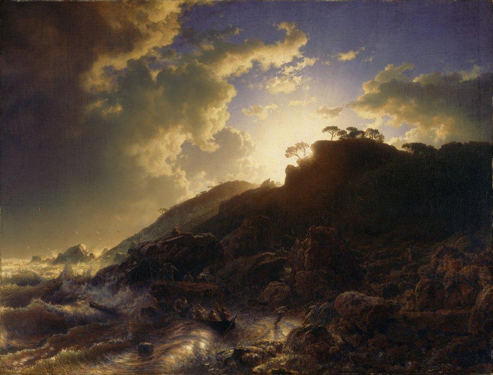 Andreas Achenbach - Sonnenuntergang nach einem Sturm an der Küste von Sizilien.jpg