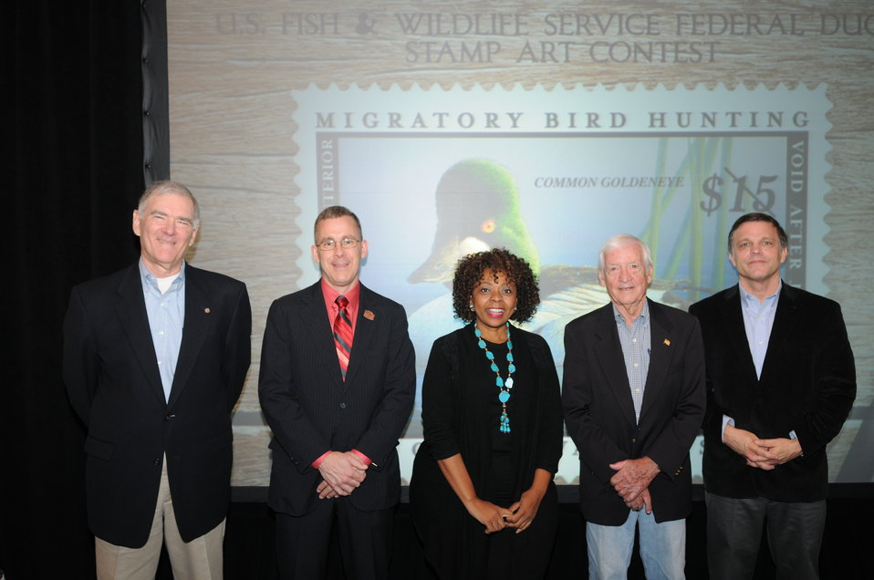 John Cornely, Chad Snee, Mamie Parker, John Ruthven and Douglas Brinkley (2013 Federal Duck Stamp Contest judges)