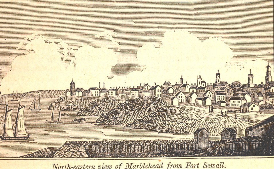 Northeastern view of Marblehead from Fort Sewall. In: Historical Collections ... of Every Town in Massachusetts.  1841.