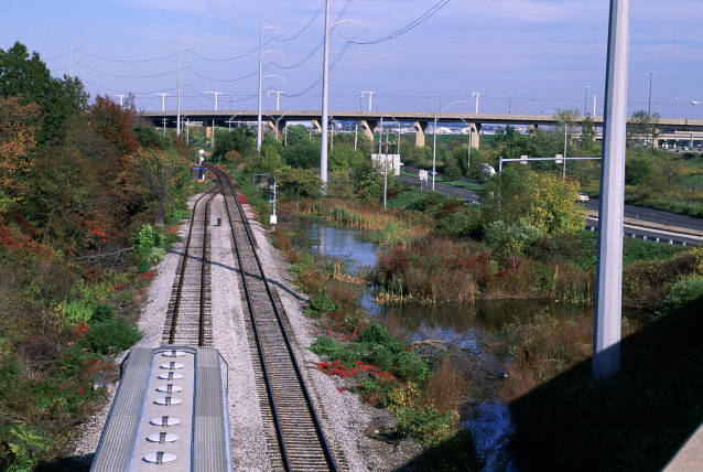 Power lines and train tracks in National Wildlife Refuge