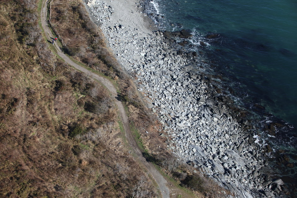 Overhead view of erosion of trail at Sachuest Point National Wildlife Refuge