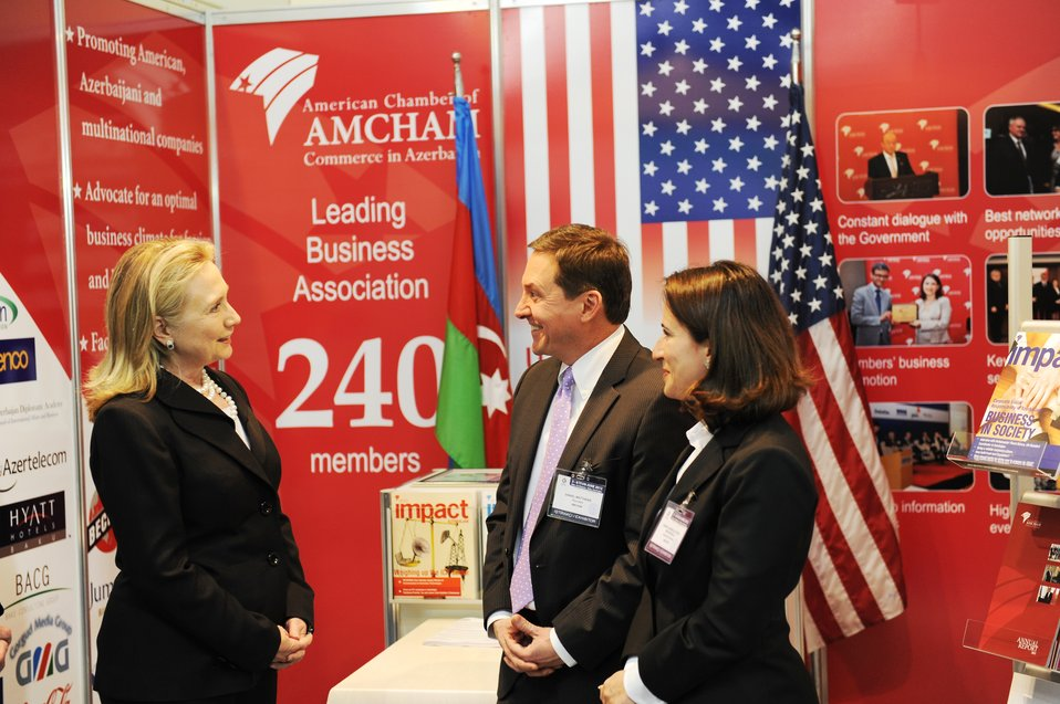 Secretary Clinton Visits the AmCham in Baku