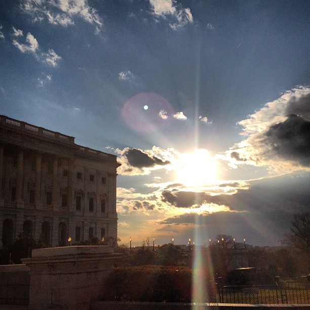 Clouds moving in on a Capitol Hill sunset.