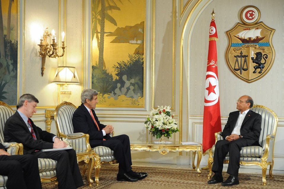 Secretary Kerry, Ambassador Walles Meet With Tunisian President Marzouki in Tunis