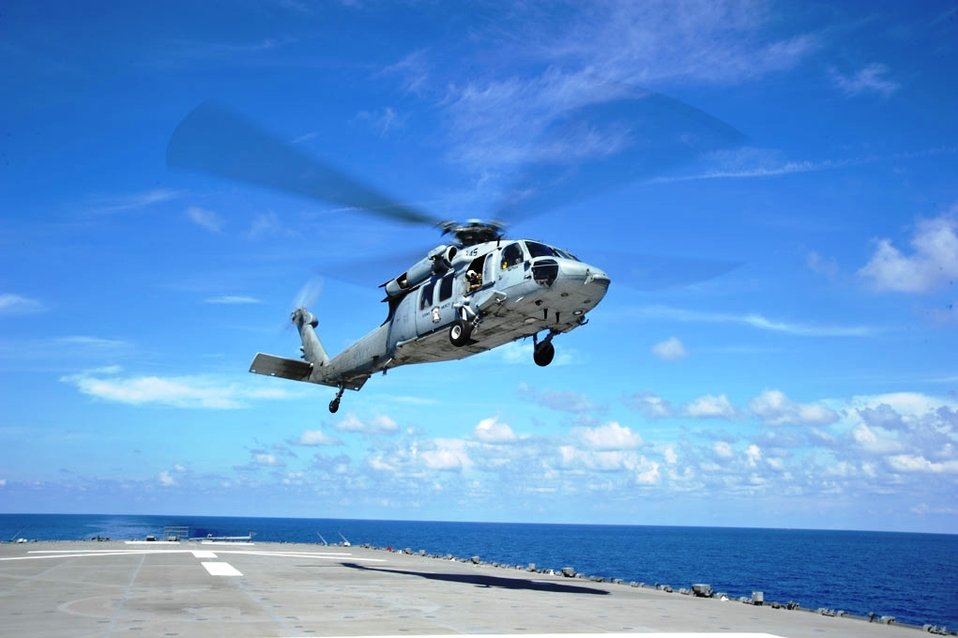 USNS Mercy Crew Member Takes Photo of Helicopter