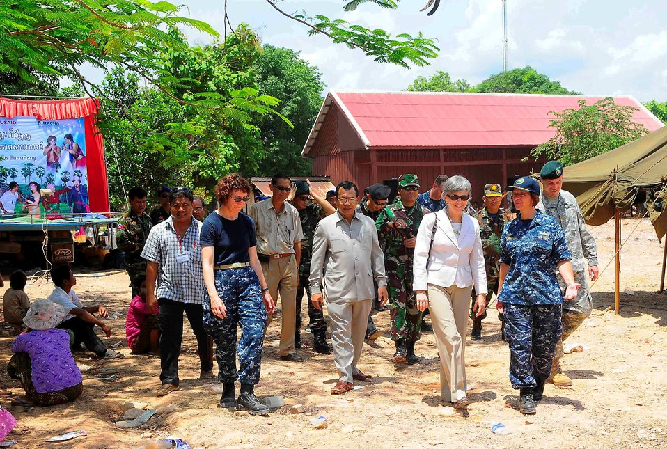 PP2010 Commander, Capt. Franchetti, Ambassador Rodley, and Cambodian Government Official Tour a Medical Civic Action Program