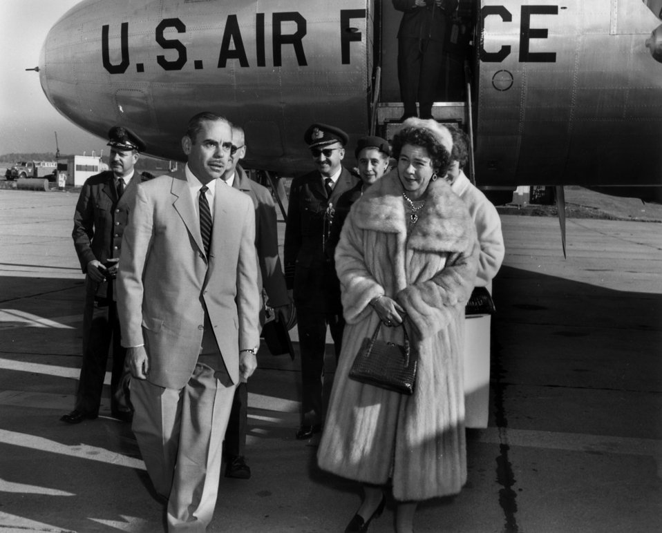 Queen Frederika - Queen consort of the Hellenes arrival at Knoxville's McGhee Tyson Airport